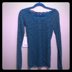 Free People teal lace stretch long sleeve shirt